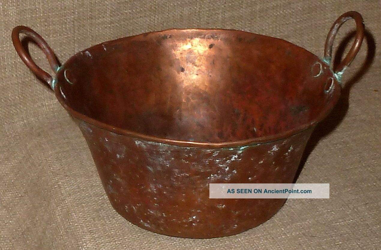 Antique Hand Hammered Sm.  Copper Cooking Pot W/ Hammered Copper Handles Patina, Hearth Ware photo