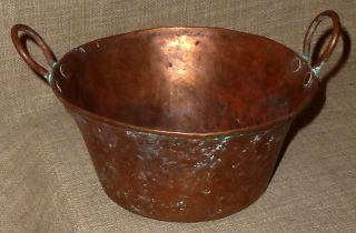 Antique Hand Hammered Sm.  Copper Cooking Pot W/ Hammered Copper Handles Patina, photo