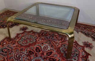 Brass Glass Waterfall Square Coffee Table John Widdicomb Mastercraft Era Modern photo