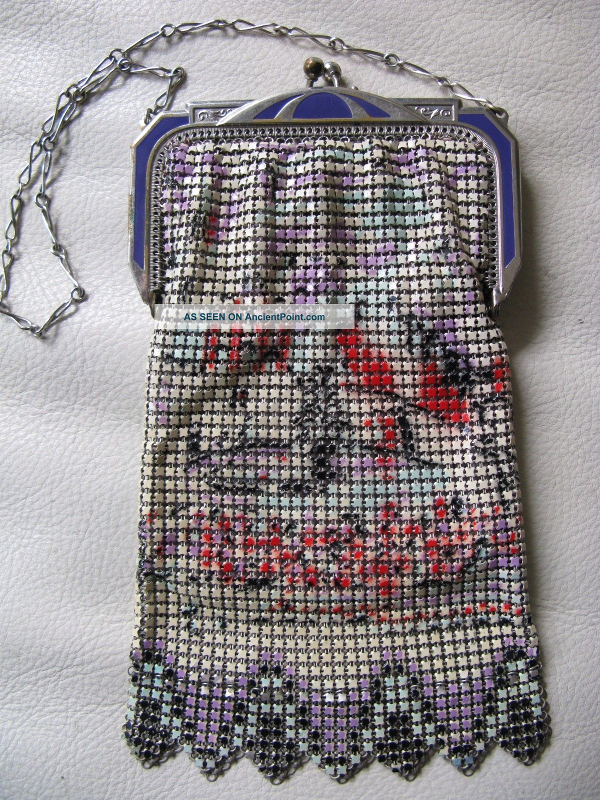 Antique Art Nouveau Deco Purple Enamel Frame Red Cream Chain Mail Mesh Purse W&d Art Deco photo