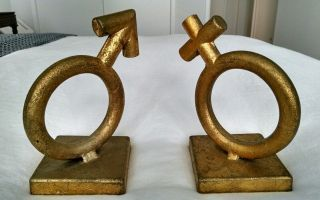 Vintage C.  Jere Midcentury Gender Symbol Bookends photo