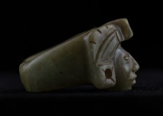 Pre Columbian Mayan Ring Stone Figurine - Antique Statue - Olmec Mayan Aztec photo