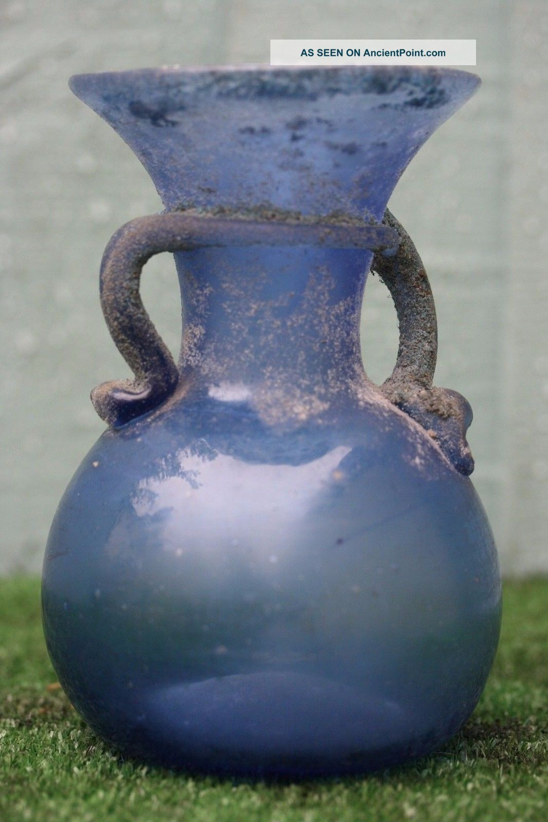 & Orig.  Antiquity Of A: Roman Glass Vase With Blue Colouring (bc Years) Roman photo