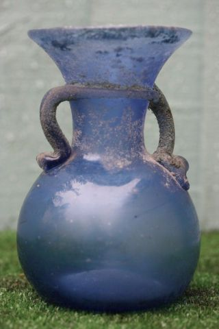 & Orig.  Antiquity Of A: Roman Glass Vase With Blue Colouring (bc Years) photo