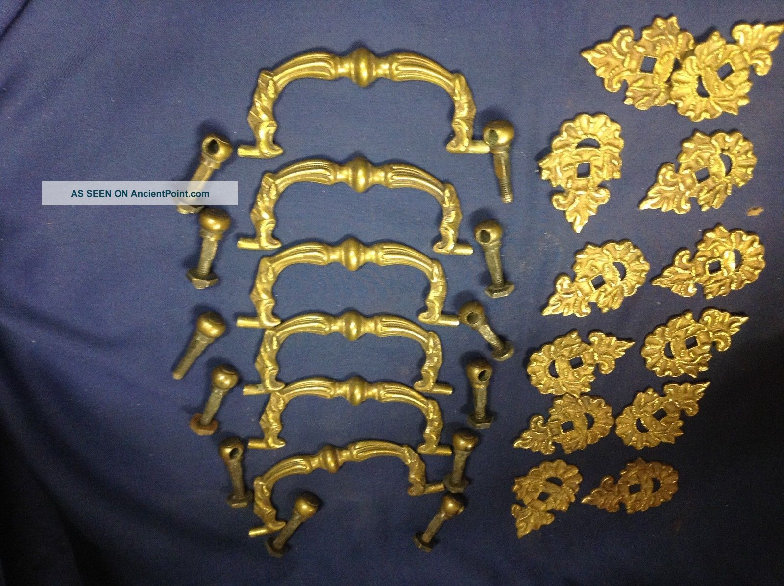 6 Early Reclaimed Brassl Drawer Pulls V114 Door Bells & Knockers photo