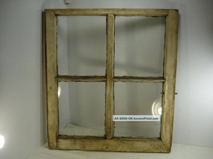 Vintage Window Sash Antique Distressed Picture Frame Farmhouse 4 Pane 28x25 1 Windows, Sashes & Locks photo