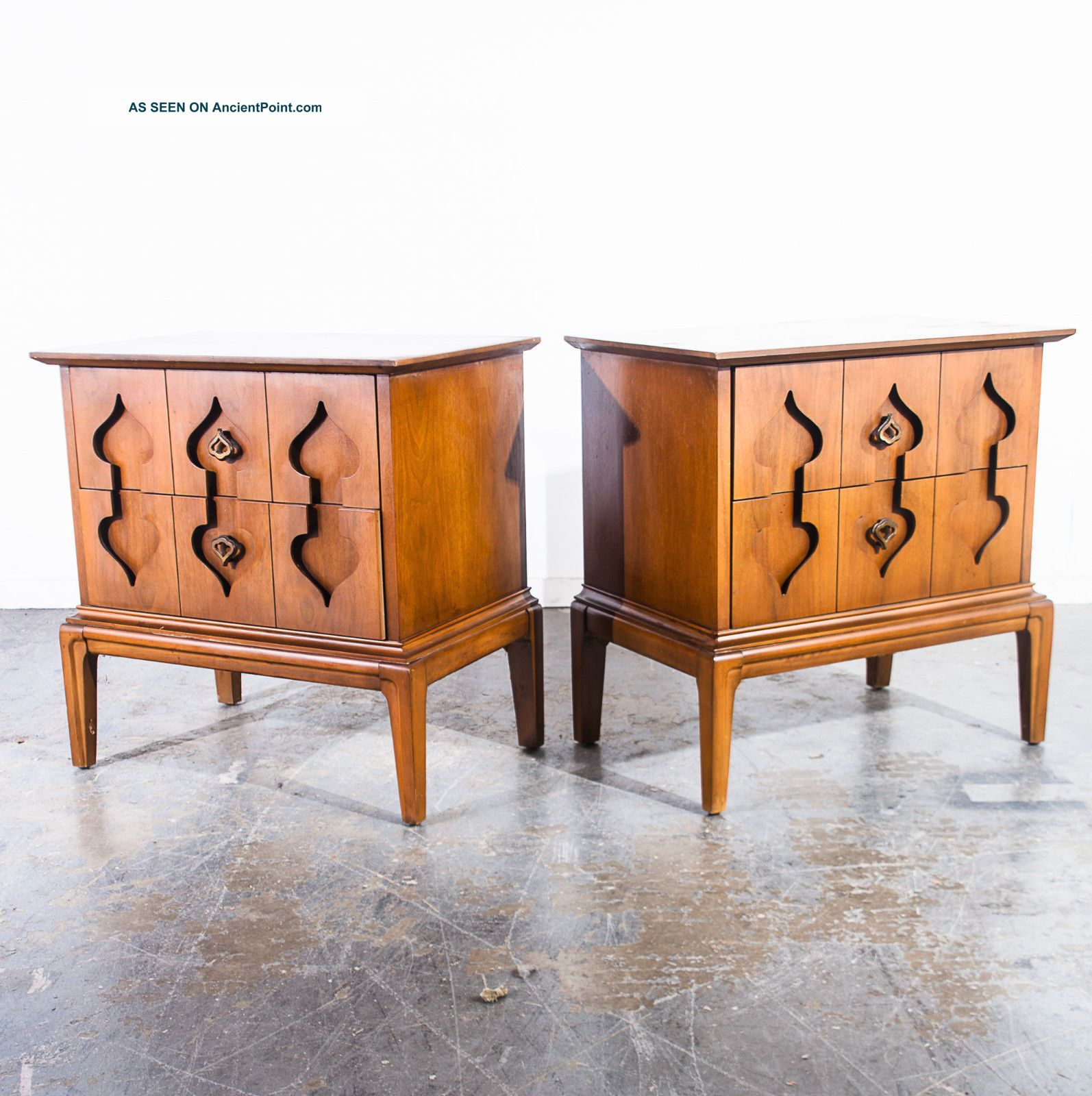 Mid Century Modern Nightstands End Tables Side Martinsville Spade Vintage Pair 2 Mid-Century Modernism photo