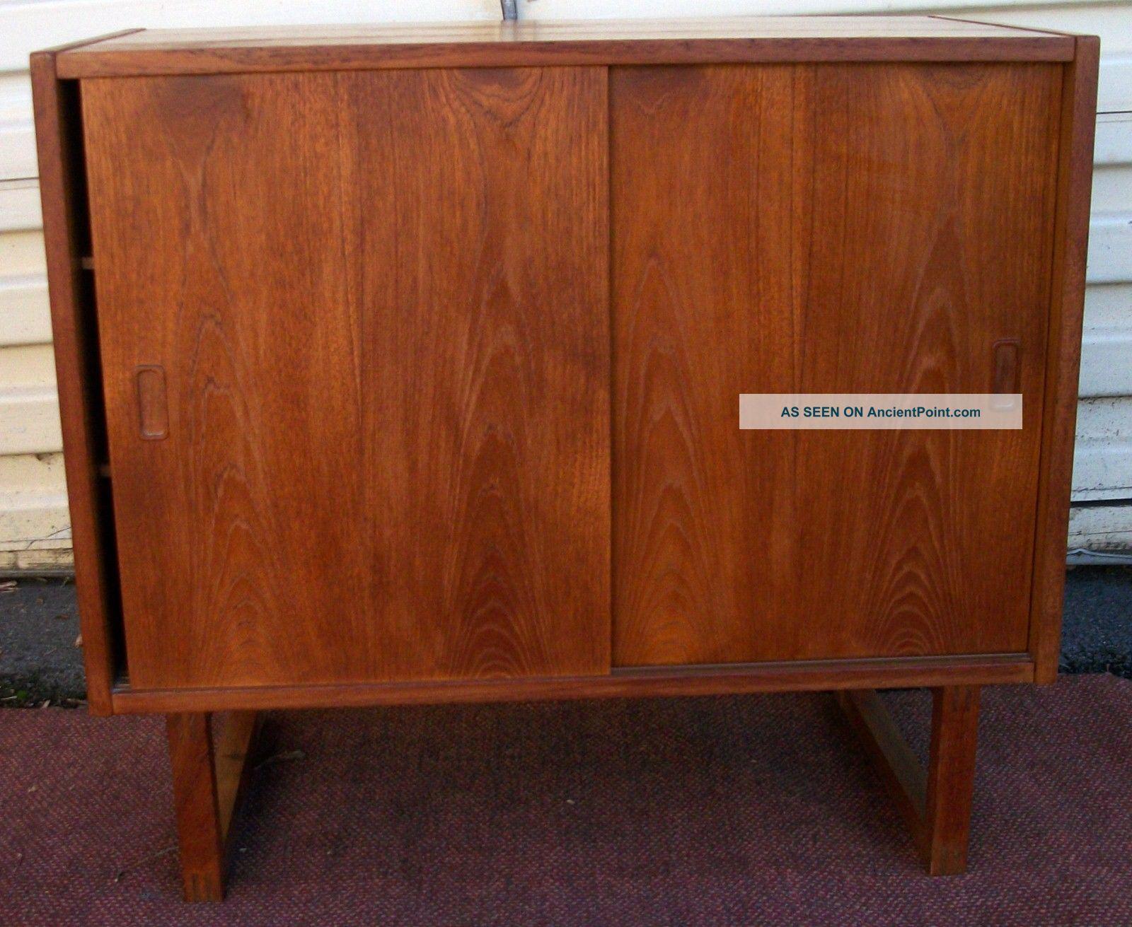 Vintage Mid Century 1960s Danish Modern Teak Credenza Cabinet Made In Denmark Mid-Century Modernism photo