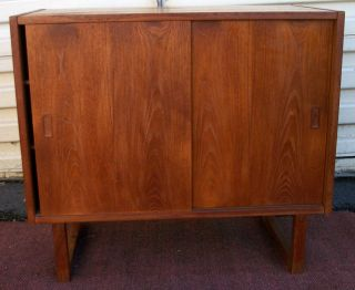 Vintage Mid Century 1960s Danish Modern Teak Credenza Cabinet Made In Denmark photo