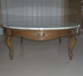 Rare 2 Pc Weiman Heirloom Round Italy Marble Wood Cocktail Coffee Table photo