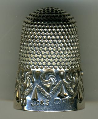 Antique English Sterling Silver Thimble (chester) W/silver Thimble Holder photo