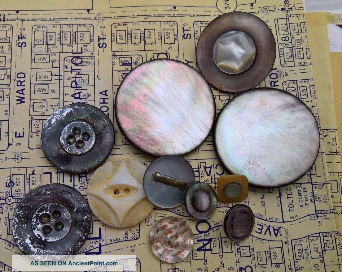 11 Antique Mop/mother - Of - Pearl Buttons Dyed Embellished Carved & Other Awesomes Buttons photo