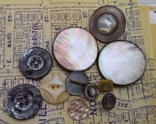 11 Antique Mop/mother - Of - Pearl Buttons Dyed Embellished Carved & Other Awesomes photo