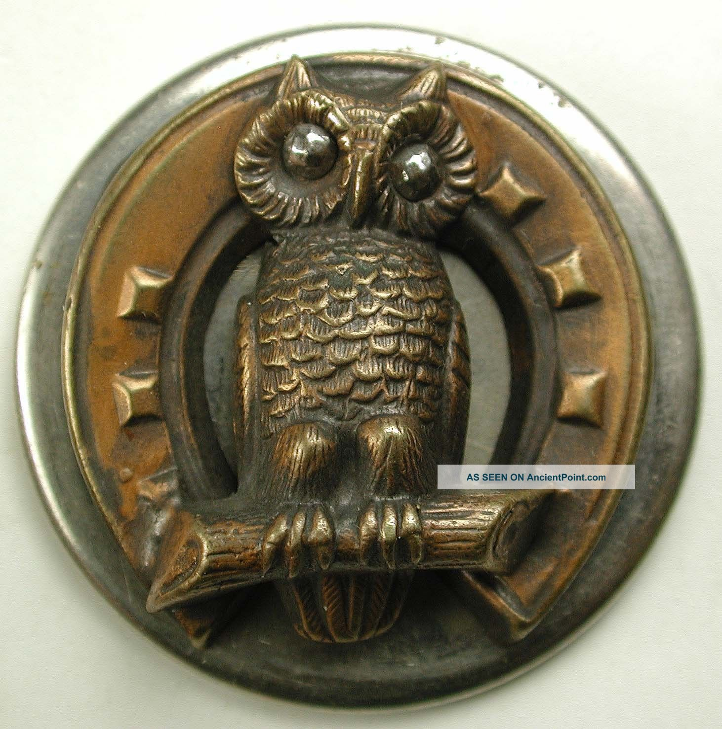 Antique Button Lg Sz Copper Owl On Horseshoe Wsteel Eyes Escutcheon 1 & 5/8