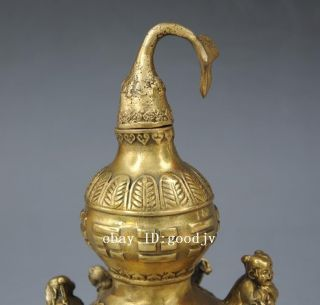 Chinese Taoism Eight Immortals Buddha Statue Pure Brass Copper Calabash Gourd photo