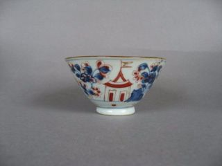 A Clobbered 18th C Chinese Porcelain Bowl,  With Houses. photo