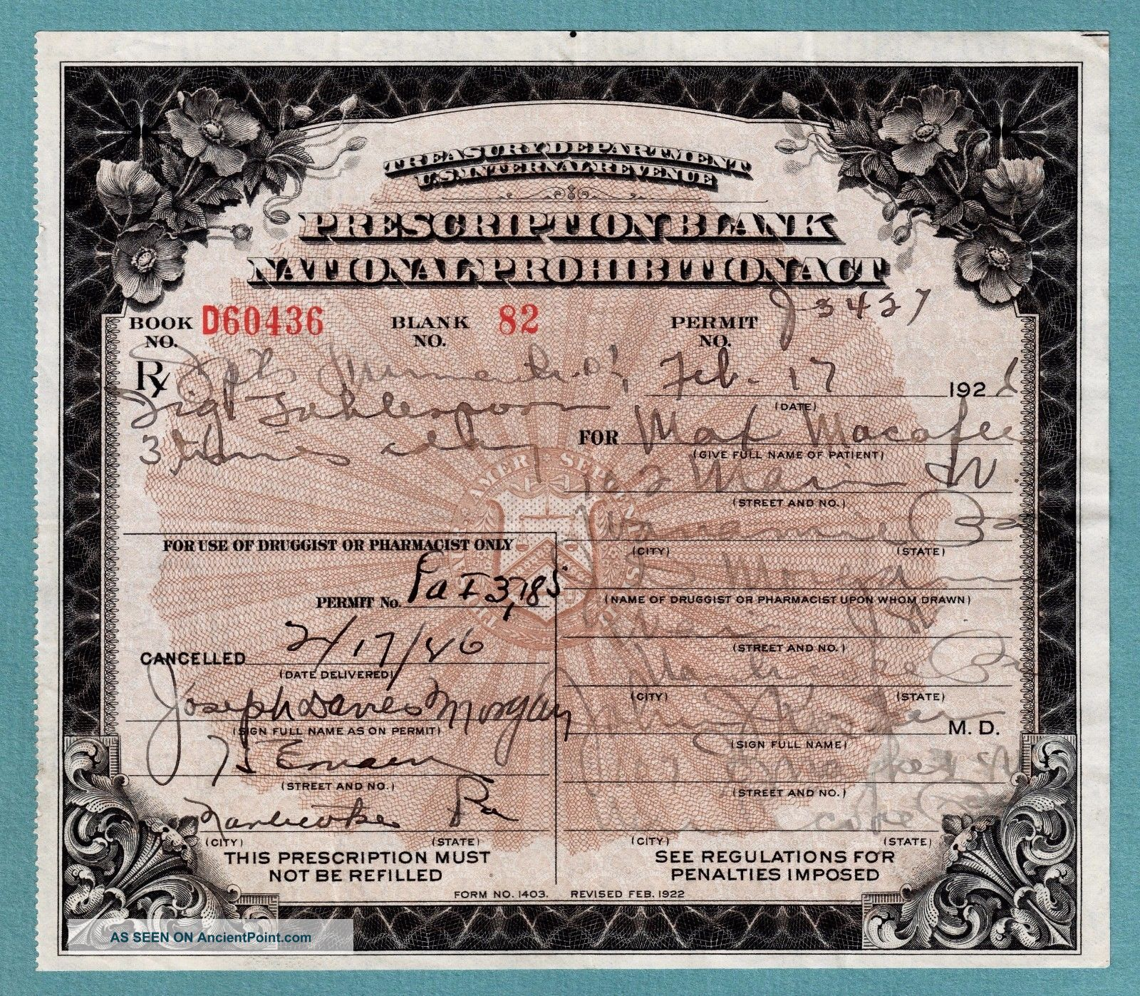 Prohibition Prescription Medical Whiskey Antique Drug Store Pharmacy Doctor Bar Other Medical Antiques photo