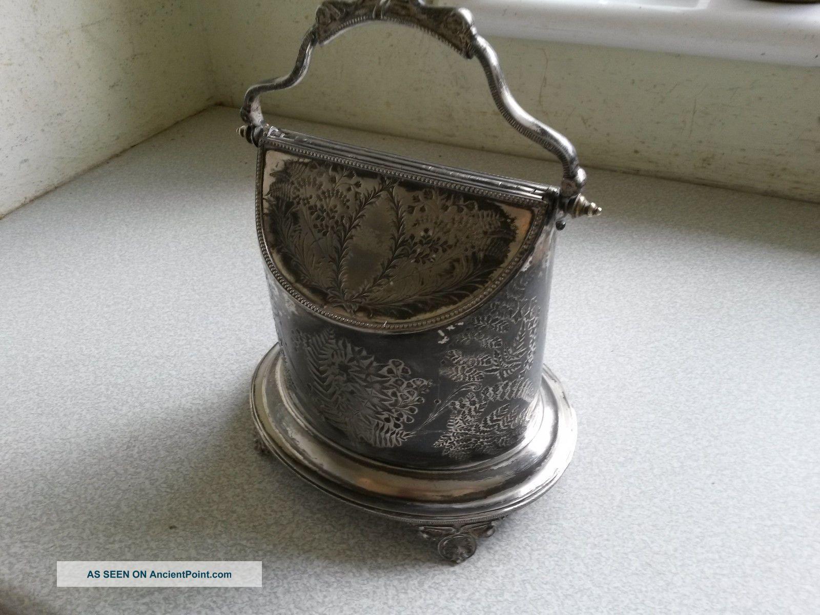 Antique Silver Plated Twin Lidded Tea Caddy / Biscuit Barrel - W Harrison 1884 Tea/Coffee Pots & Sets photo