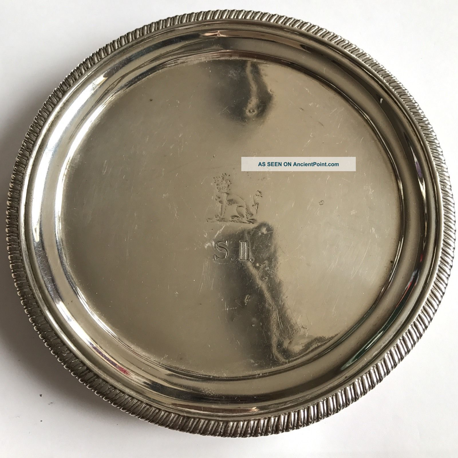 Antique Georgian Solid Silver Wine Coaster / Dish / Tray Charles Thomas Fox 1823 Dishes & Coasters photo