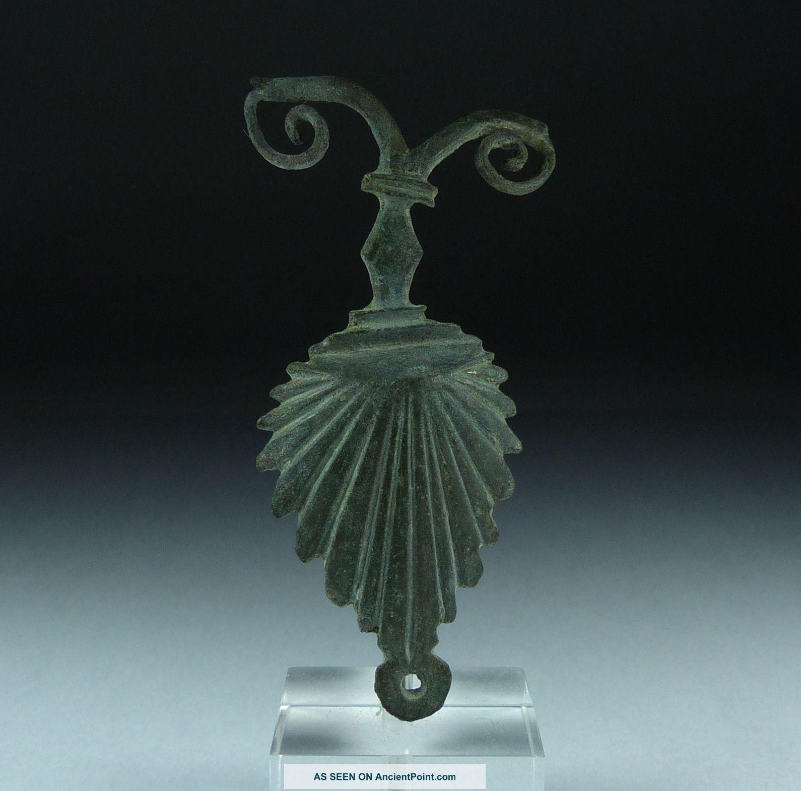 Ancient Roman Bronze Gladius Scabbard Mount 2nd Ad Roman photo