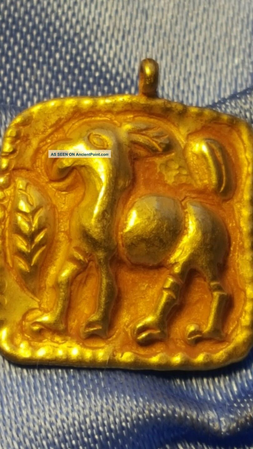 Persian Pure Solid Gold Horse Pendant Very Rare Roman photo
