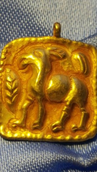 Persian Pure Solid Gold Horse Pendant Very Rare photo