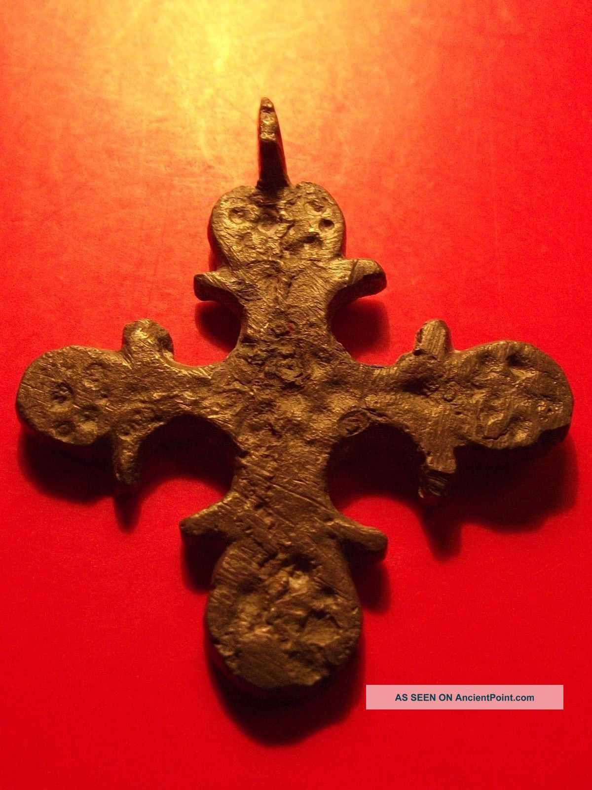 Rare Byzantine Christian Orthodox Cross 12th Cent Gray Patina Religion Pendant Byzantine photo
