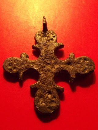Rare Byzantine Christian Orthodox Cross 12th Cent Gray Patina Religion Pendant photo