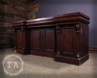 Antique Mahogany Backbar Bar Cabinet photo