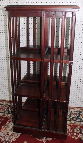 Antique Style Three Tier Leather Top Mahogany Revolving Bookcase Circa 1920 photo