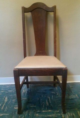 Antique English Queen Anne Slat Back Side Dining Chair Solid Mahogany Hickory photo