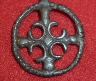 Knights Templar Ancient Bronze Cross Amulet / Pendant Circa 1100 Ad - 3704 - photo