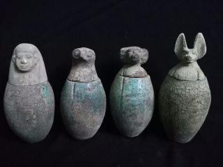 4 Ancient Egyptian Canopic Jars (990–969 Bc) photo