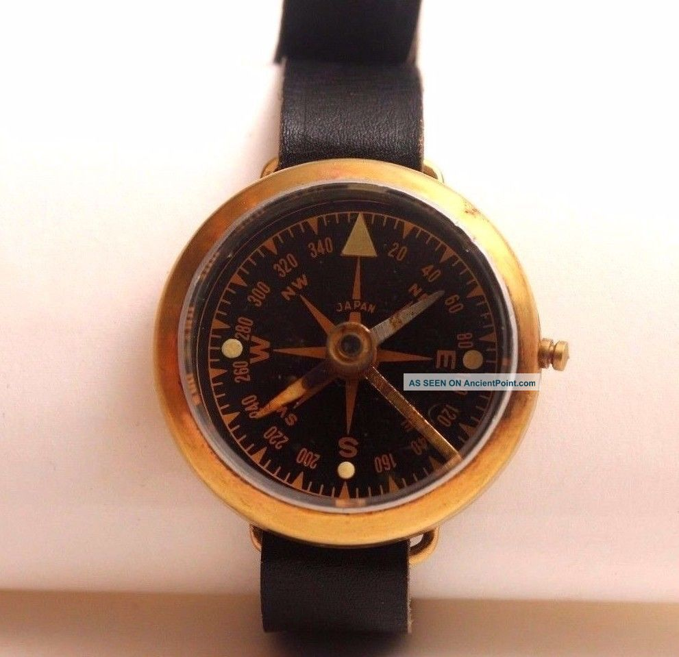 Vintage Military Wrist Compass,  Copper,  Japan,  Leather Band, Compasses photo
