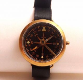 Vintage Military Wrist Compass,  Copper,  Japan,  Leather Band, photo