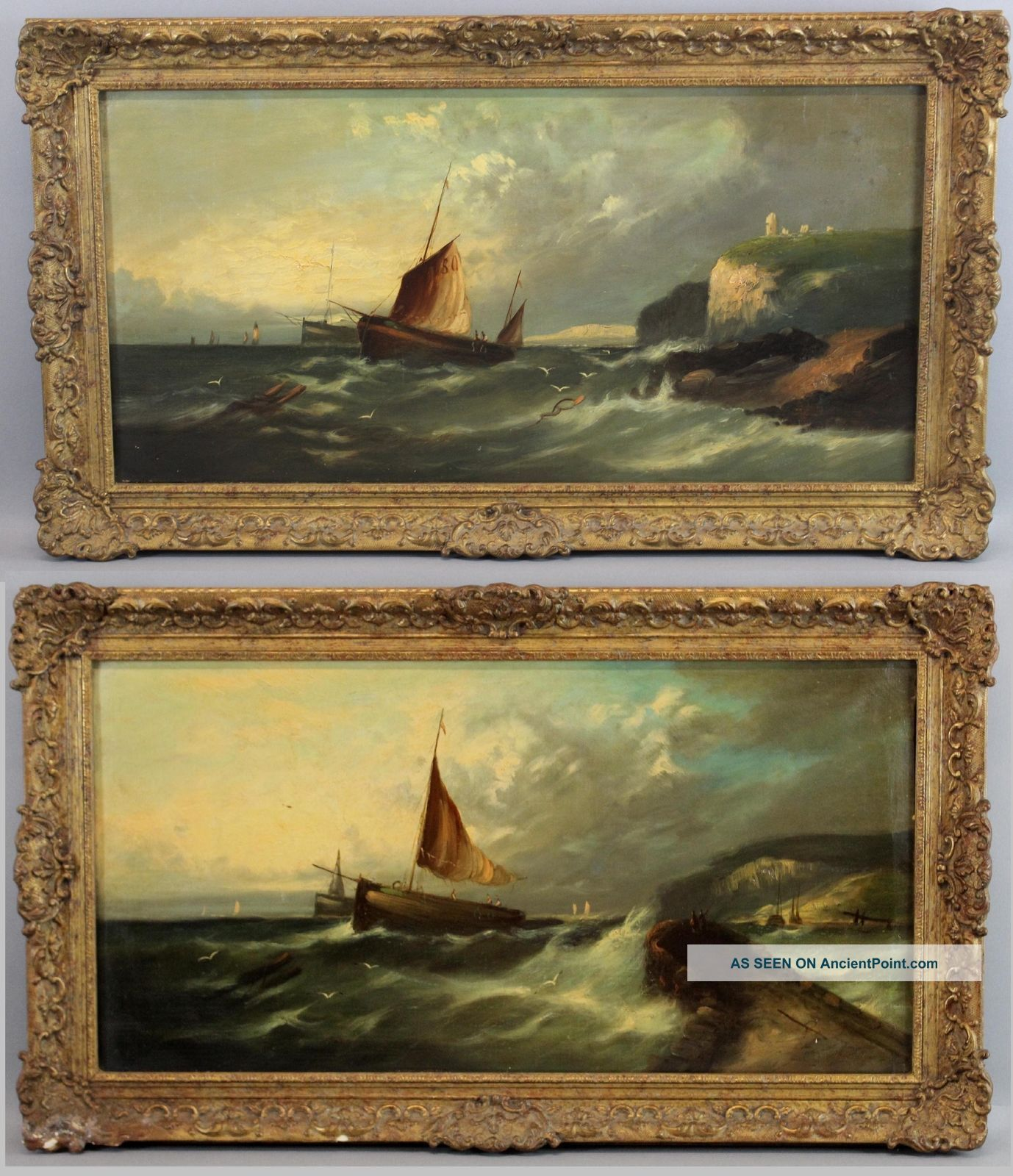 Pair Antique 19thc Signed Sailboat Seascape Maritime O/c American Oil Paintings Other Maritime Antiques photo