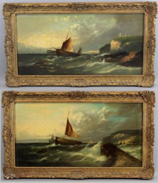 Pair Antique 19thc Signed Sailboat Seascape Maritime O/c American Oil Paintings photo