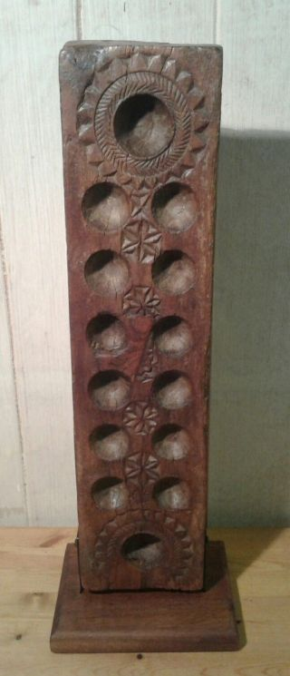 Mounted Antique East African Hardwood Mankala/wari Game Board photo
