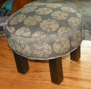 Retro Print Black Painted Footstool Stool (st78) photo