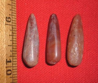 (3) Select Tapered Sahara Neolithic Stone Plugs,  Prehistoric African Artifacts photo