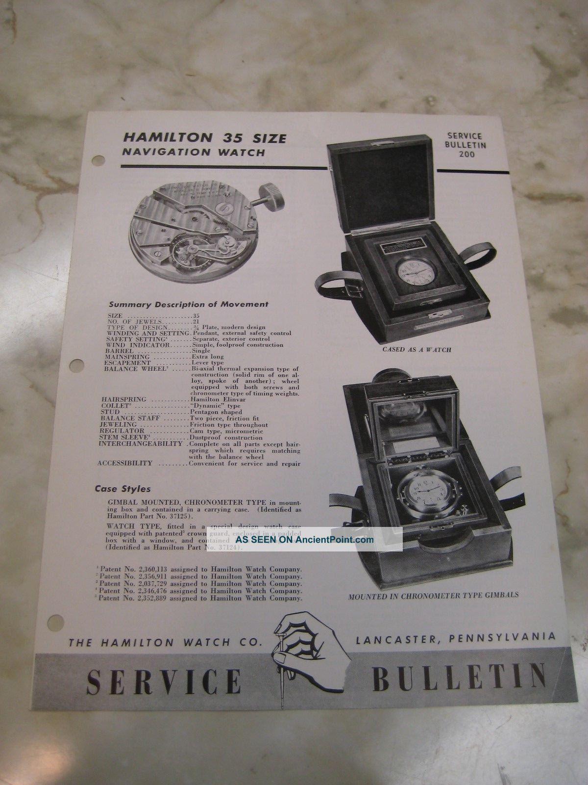 1946 Hamilton Watch - Model 22 - Deck Navigation Chronometer - Service Bulletin Clocks photo