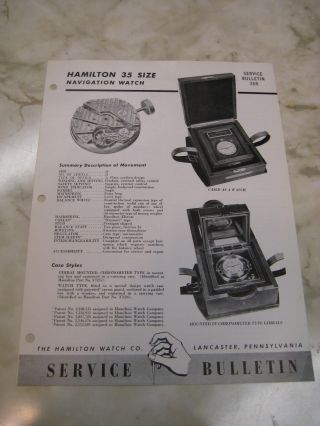 1946 Hamilton Watch - Model 22 - Deck Navigation Chronometer - Service Bulletin photo
