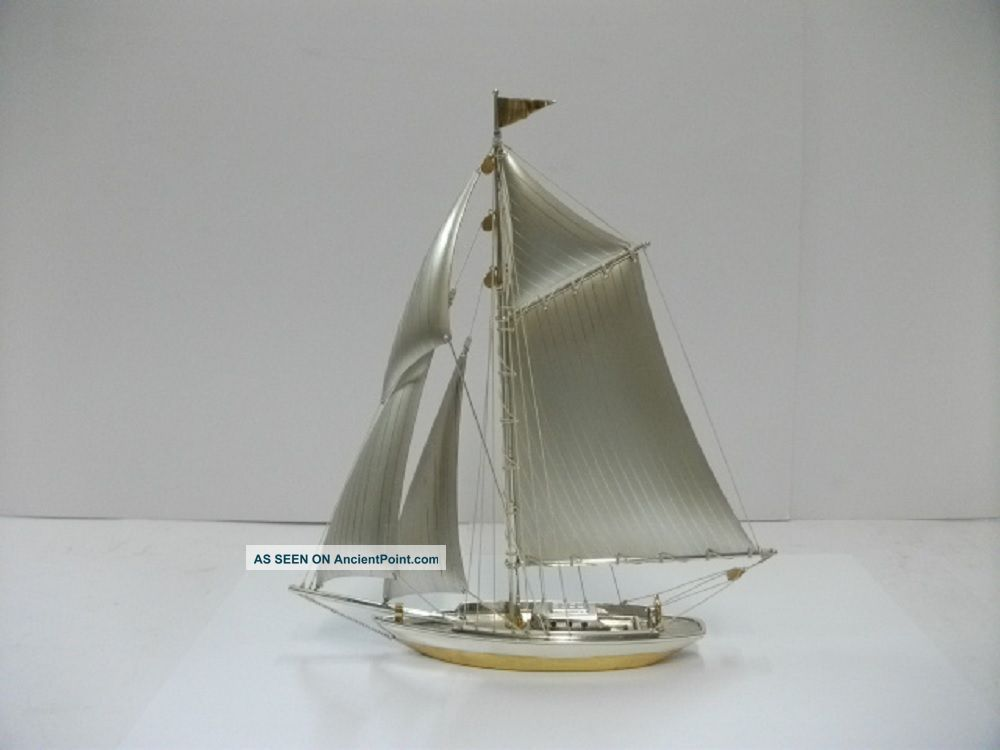 The Sailboat Of Silver950 Of Japan.  150g/ 5.  28oz.  A Japanese Antique. Other Antique Sterling Silver photo