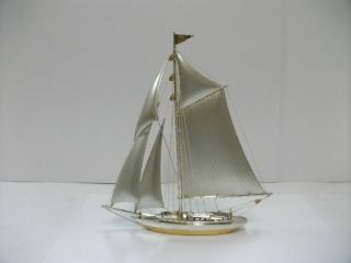 The Sailboat Of Silver950 Of Japan.  150g/ 5.  28oz.  A Japanese Antique. photo