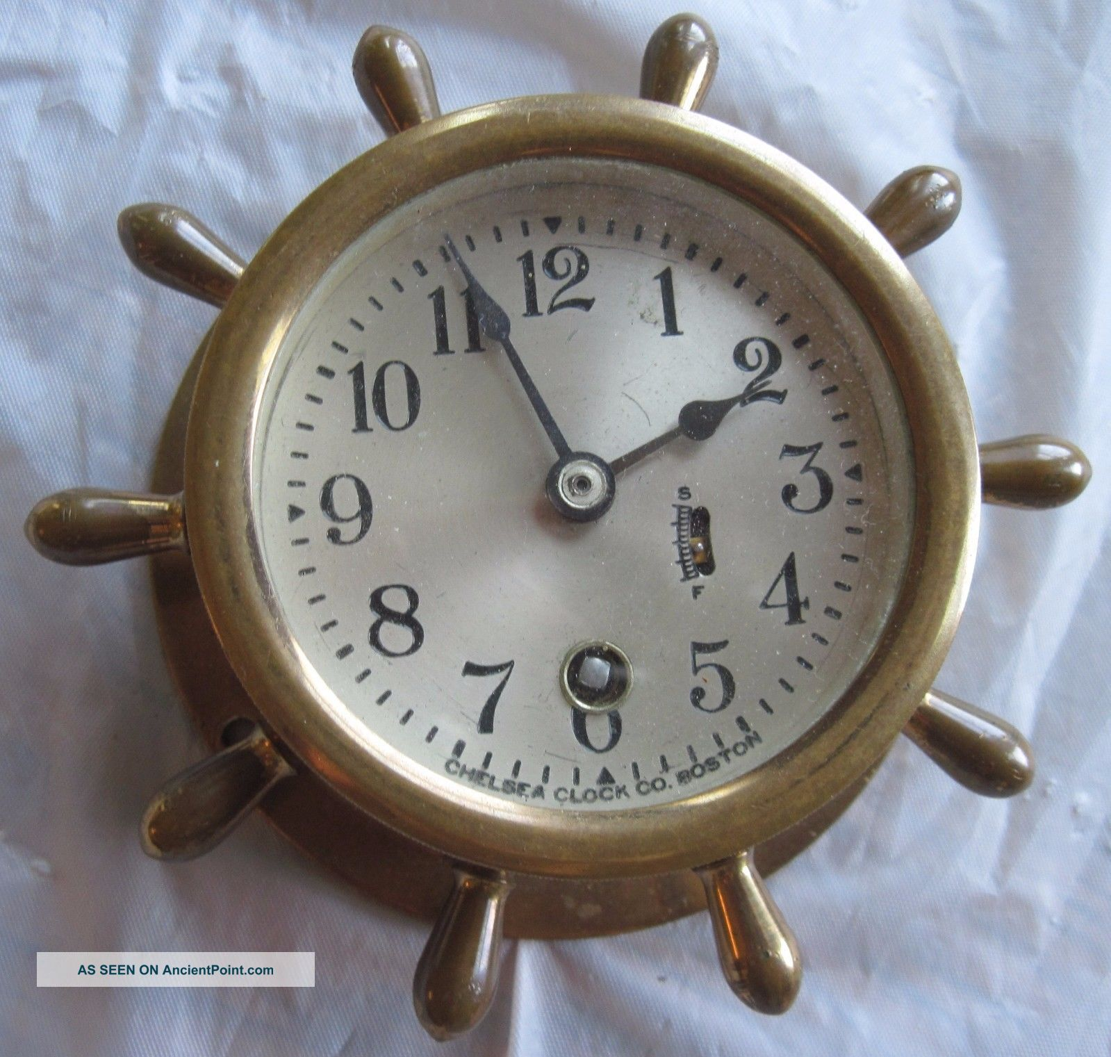 Vintage Chelsea Clock Co.  Boston,  Mass.  Bronze Ship ' S Wheel Clock,  3 Inch Face Clocks photo