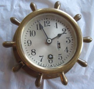 Vintage Chelsea Clock Co.  Boston,  Mass.  Bronze Ship ' S Wheel Clock,  3 Inch Face photo