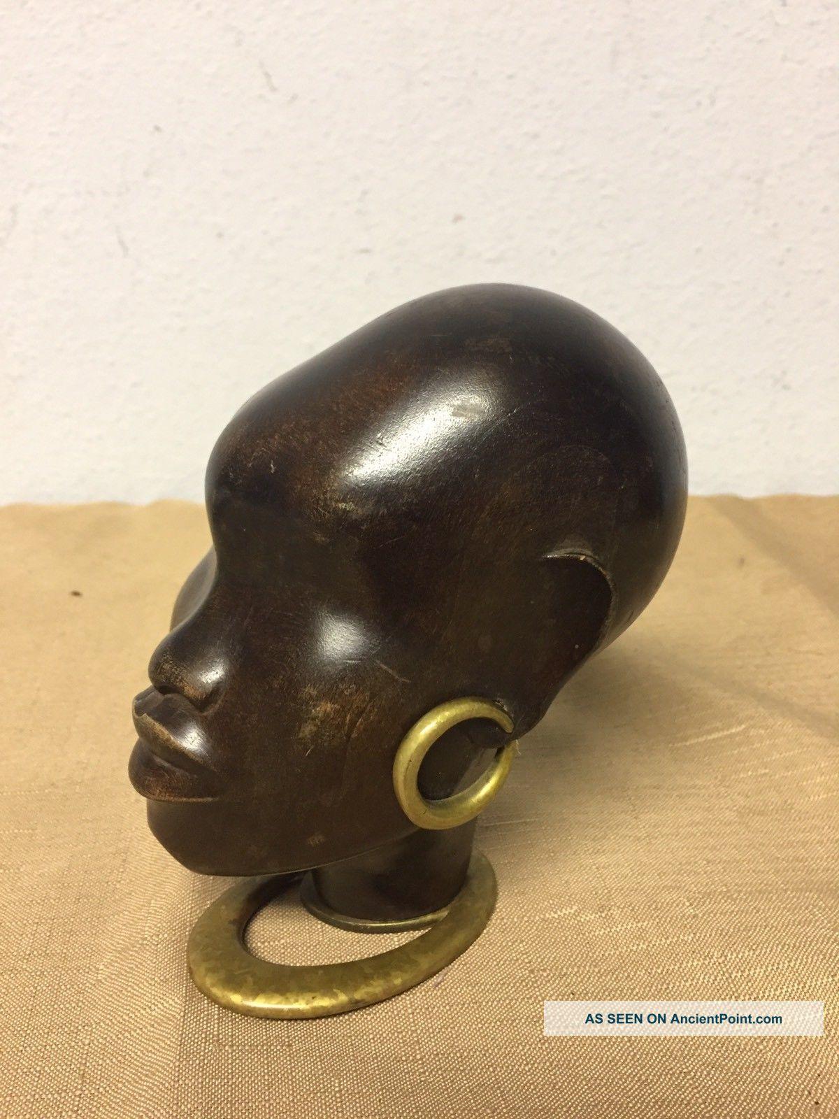 Hagenauer Wien Austria African Bust.  Wood Bronze Art Deco photo