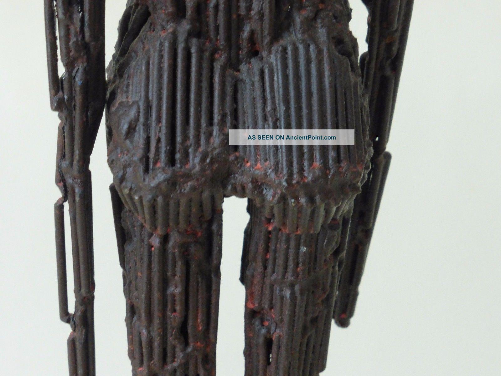 Giacometti Style Mid Century Elongated Brutalist Metal Female Statue 25 5/8