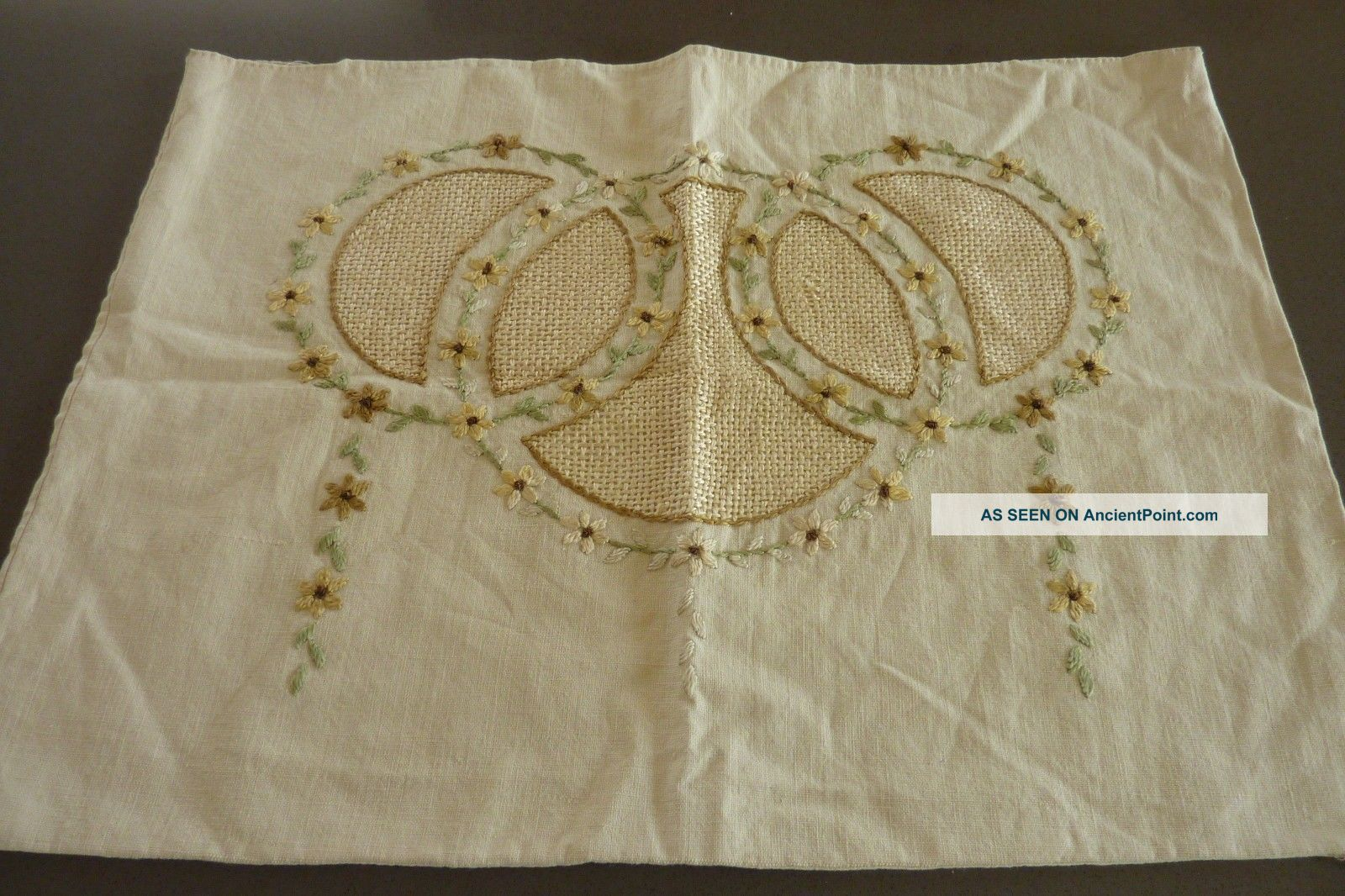 Vintage Arts & Crafts Linen Embroidered Pillow Cover Stickley Era 16 X 23