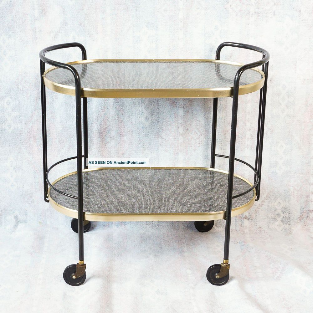 Mid Century Modern Bar Cart Black Gold Laminate Curved Tea Serving Cart Mad Men Mid-Century Modernism photo